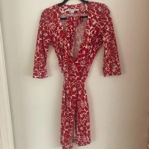 DVF Red Wrap Dress - Size 2